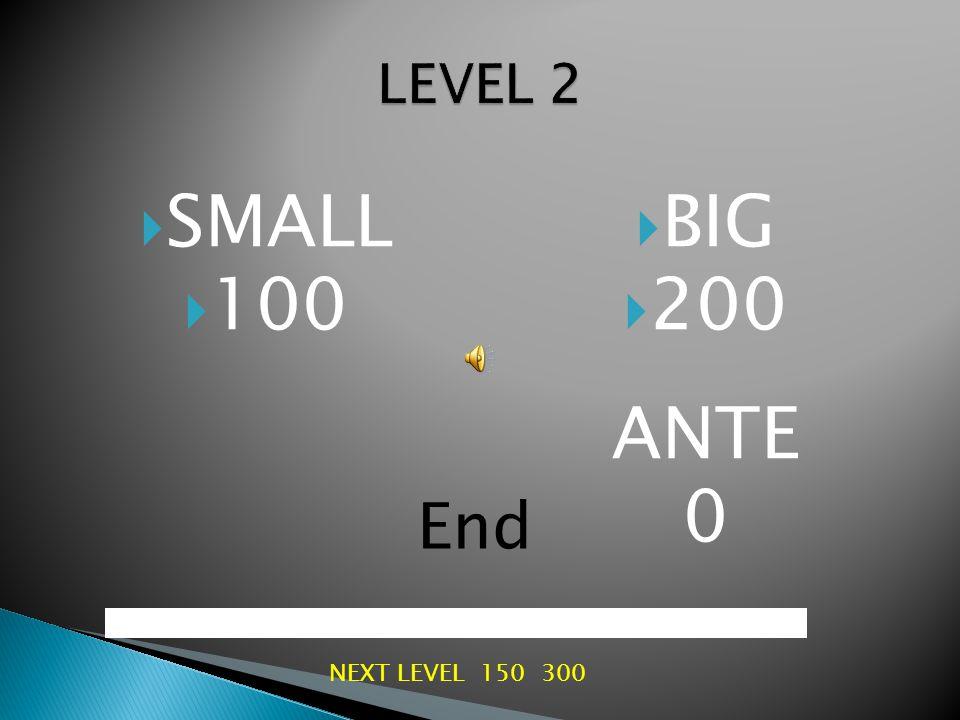  SMALL  50  BIG  100 ANTE 0 End NEXT LEVEL 100 200