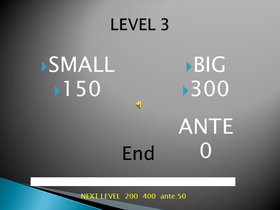  SMALL  100  BIG  200 ANTE 0 End NEXT LEVEL 150 300
