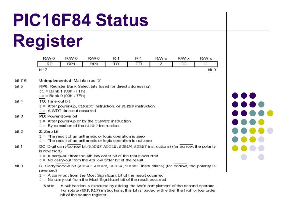 PIC16F84 Status Register
