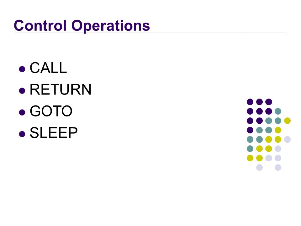Control Operations CALL RETURN GOTO SLEEP