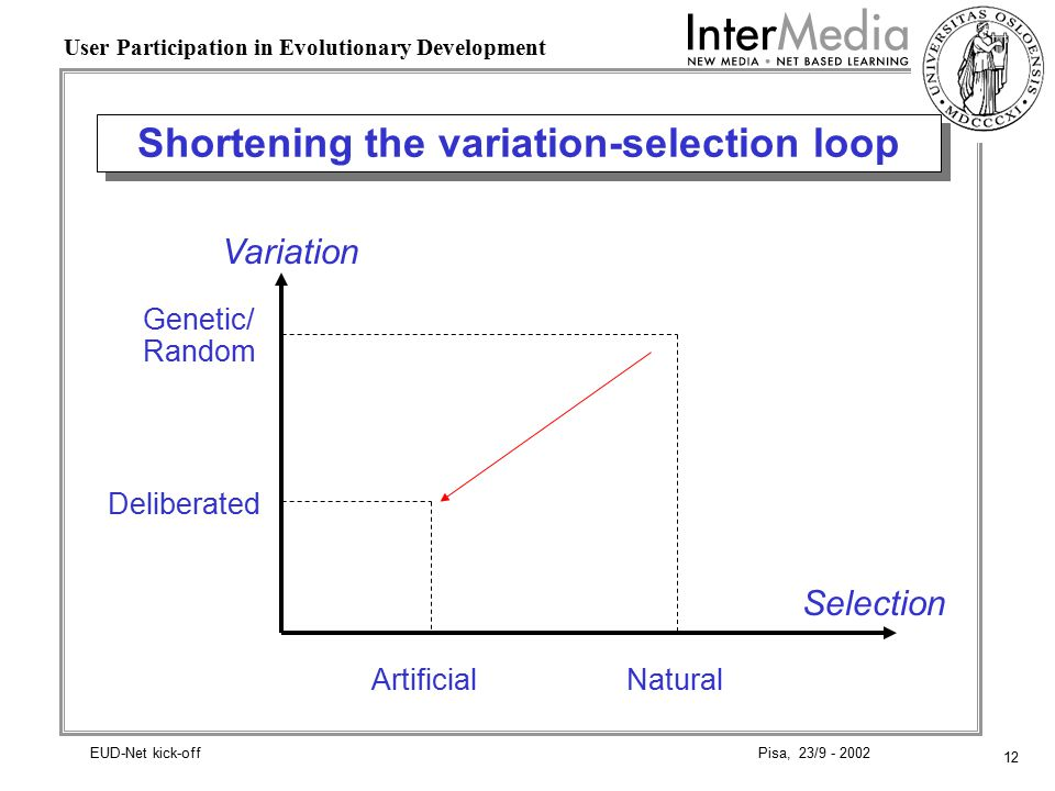 12 User Participation in Evolutionary Development Pisa, 23/9 - 2002EUD-Net kick-off Shortening the variation-selection loop Variation Natural Deliberated Selection Genetic/ Random Artificial