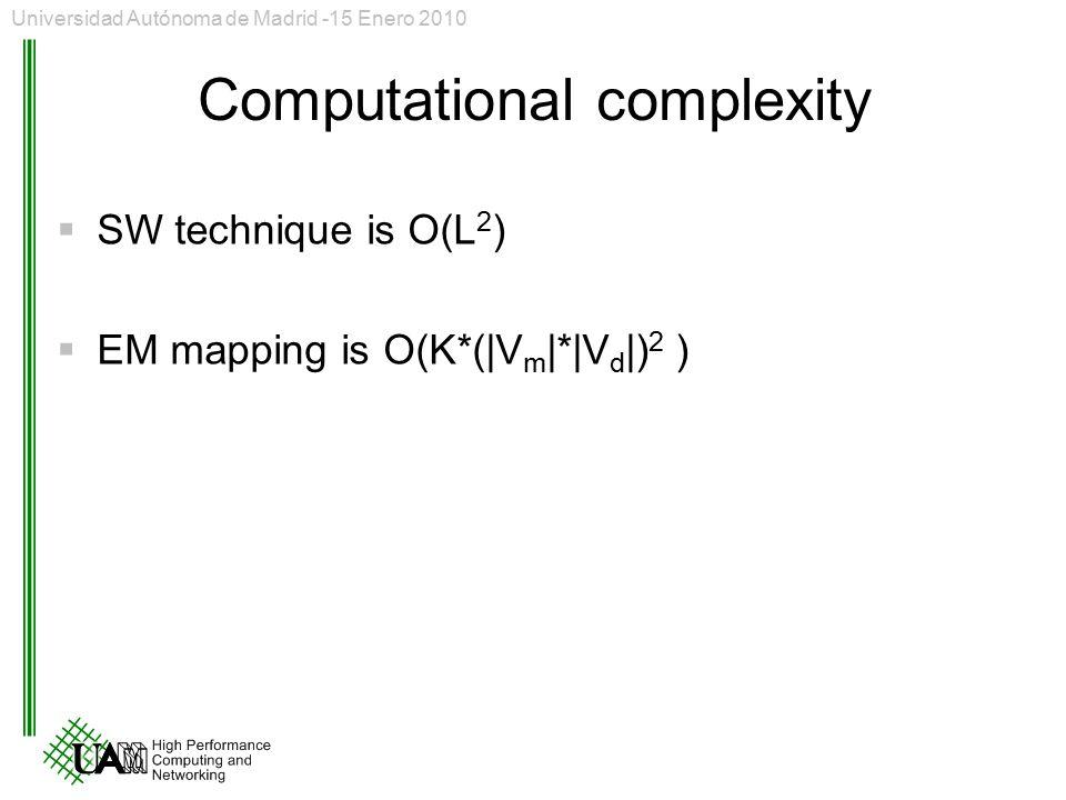 Computational complexity  SW technique is O(L 2 )  EM mapping is O(K*(|V m |*|V d |) 2 ) Universidad Autónoma de Madrid -15 Enero 2010