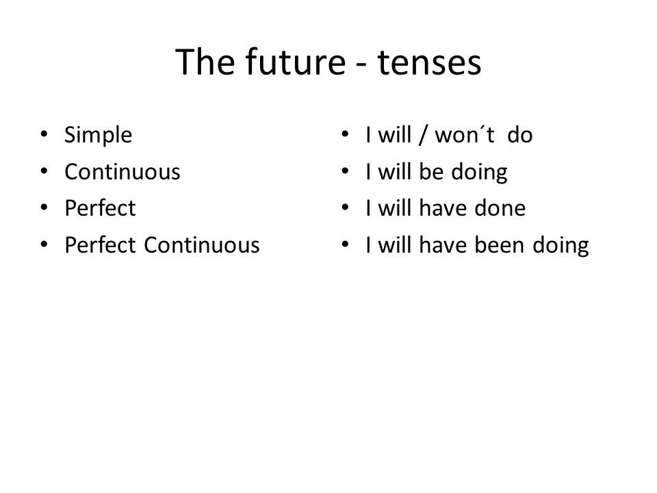 The future - tenses Simple Continuous Perfect Perfect Continuous I will / won´t do I will be doing I will have done I will have been doing