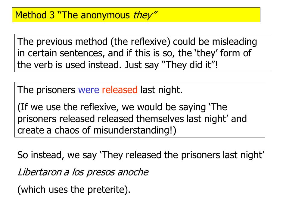Method 3 The anonymous they The previous method (the reflexive) could be misleading in certain sentences, and if this is so, the 'they' form of the verb is used instead.