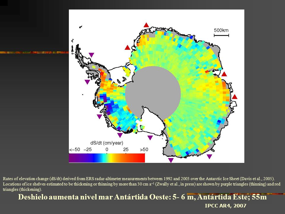 Rates of elevation change (dS/dt) derived from ERS radar-altimeter measurements between 1992 and 2003 over the Antarctic Ice Sheet (Davis et al., 2005).