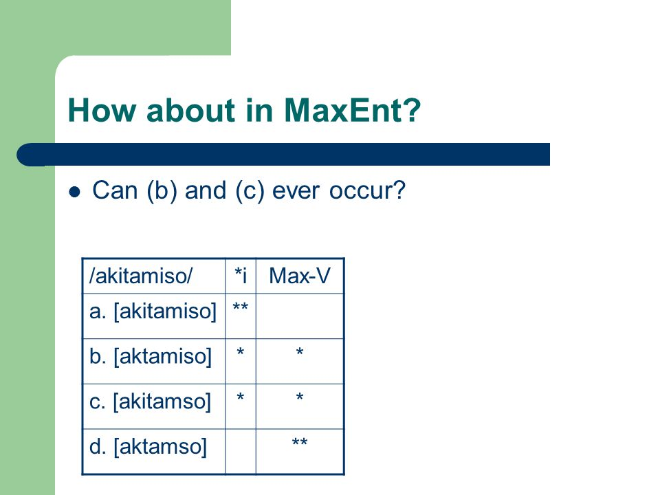How about in MaxEnt. Can (b) and (c) ever occur. /akitamiso/*iMax-V a.