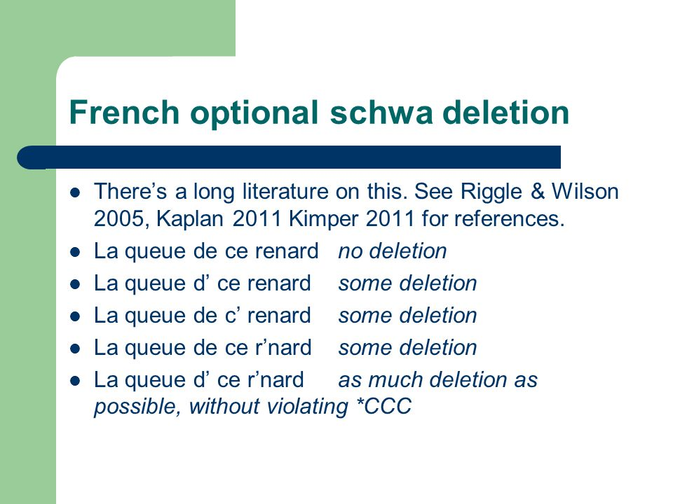 French optional schwa deletion There's a long literature on this.