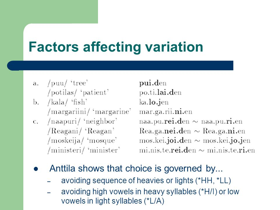 Factors affecting variation Anttila shows that choice is governed by...