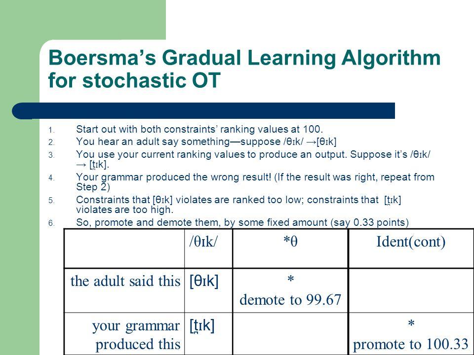 Boersma's Gradual Learning Algorithm for stochastic OT 1.