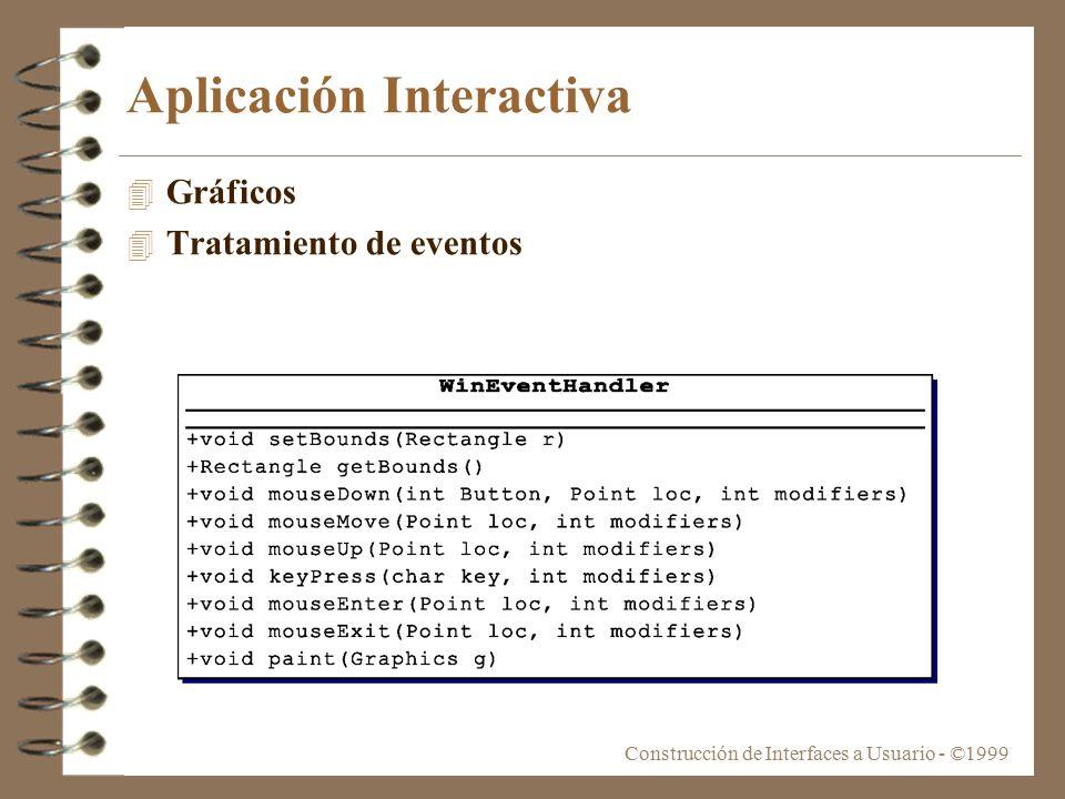Construcción de Interfaces a Usuario - ©1999 Aplicación Interactiva 4 Gráficos 4 Tratamiento de eventos