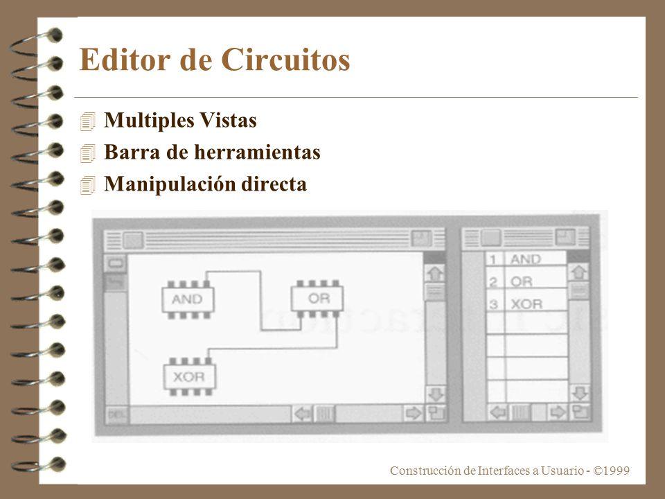 Construcción de Interfaces a Usuario - ©1999 Editor de Circuitos 4 Multiples Vistas 4 Barra de herramientas 4 Manipulación directa
