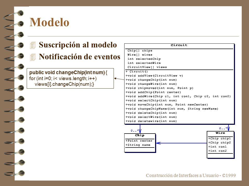 Construcción de Interfaces a Usuario - ©1999 Modelo 4 Suscripción al modelo 4 Notificación de eventos public void changeChip(int num) { for (int i=0; i< views.length; i++) views[i].changeChip(num);}