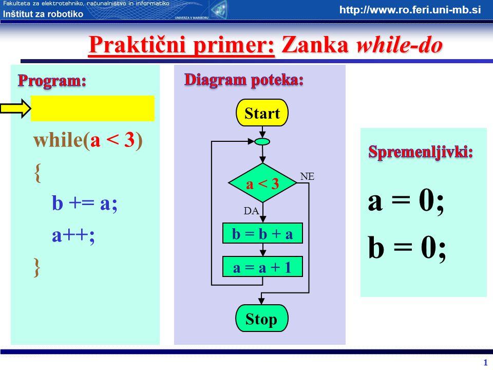 1 http://www.ro.feri.uni-mb.si Praktični primer: Zanka while-do while(a < 3) { b += a; a++; } Start a < 3 b = b + a Stop DA NE a = a + 1 a = 0; b = 0;