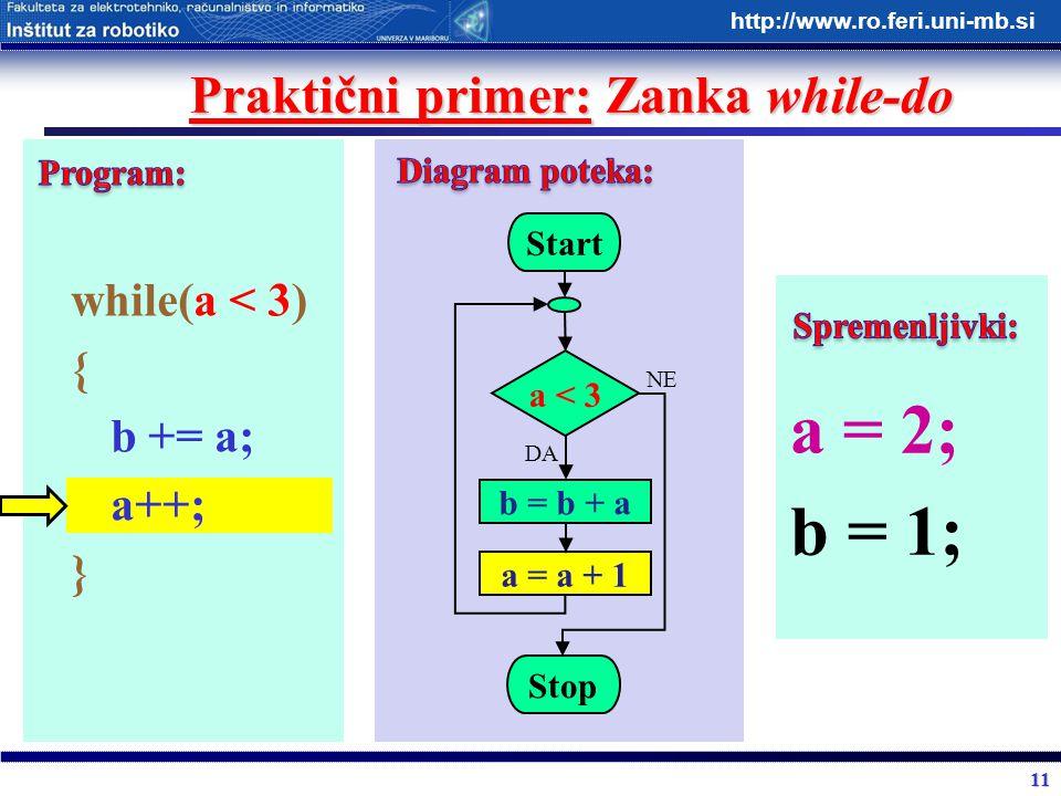 11 http://www.ro.feri.uni-mb.si Praktični primer: Zanka while-do while(a < 3) { b += a; a++; } Start a < 3 b = b + a Stop DA NE a = a + 1 a = 2; b = 1
