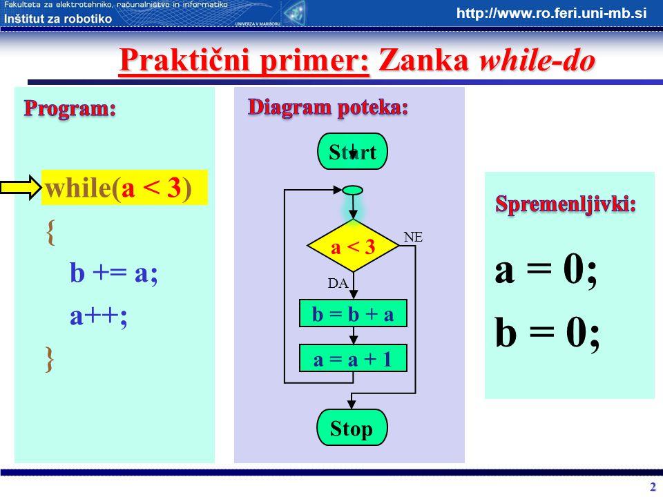 2 http://www.ro.feri.uni-mb.si Praktični primer: Zanka while-do while(a < 3) { b += a; a++; } Start a < 3 b = b + a Stop DA NE a = a + 1 a = 0; b = 0;
