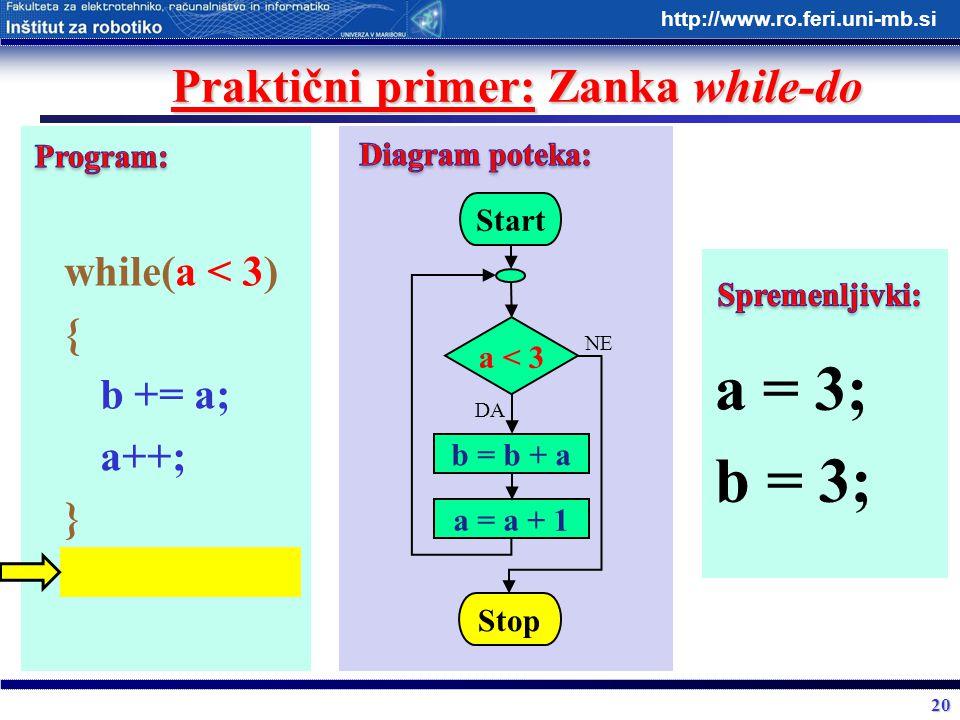 20 http://www.ro.feri.uni-mb.si Praktični primer: Zanka while-do while(a < 3) { b += a; a++; } Start a < 3 b = b + a Stop DA NE a = a + 1 a = 3; b = 3