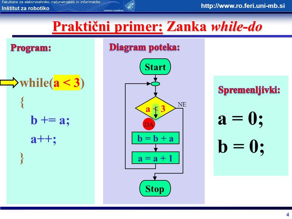 4 http://www.ro.feri.uni-mb.si Praktični primer: Zanka while-do while(a < 3) { b += a; a++; } Start a < 3 b = b + a Stop DA NE a = a + 1 a = 0; b = 0;