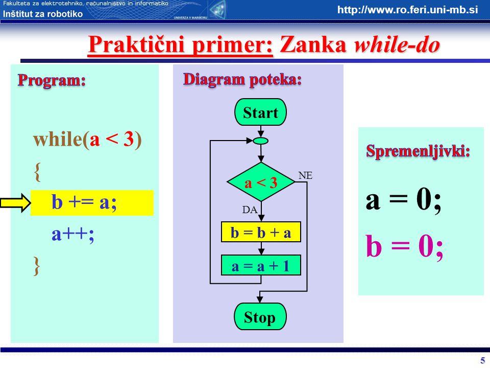 5 http://www.ro.feri.uni-mb.si Praktični primer: Zanka while-do while(a < 3) { b += a; a++; } Start a < 3 b = b + a Stop DA NE a = a + 1 a = 0; b = 0;