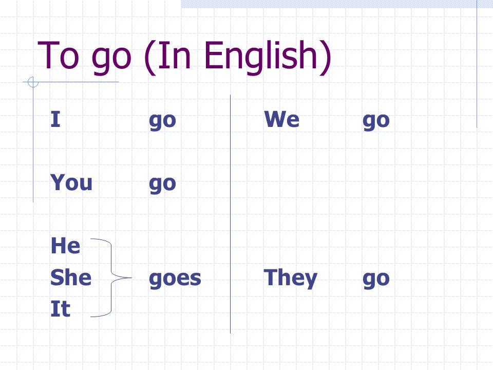 To go (In English) I go Yougo He Shegoes It Wego Theygo