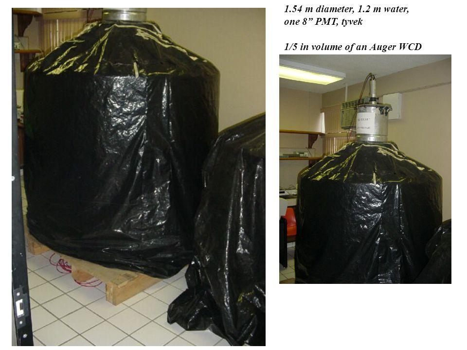 1.54 m diameter, 1.2 m water, one 8 PMT, tyvek 1/5 in volume of an Auger WCD