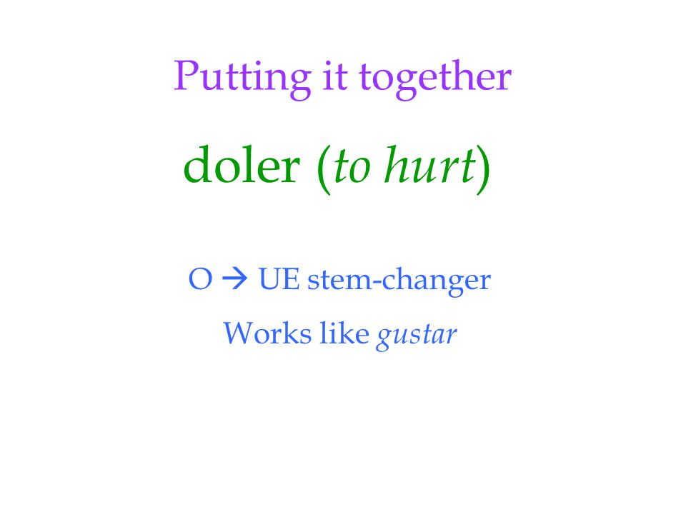 Putting it together doler ( to hurt ) O  UE stem-changer Works like gustar