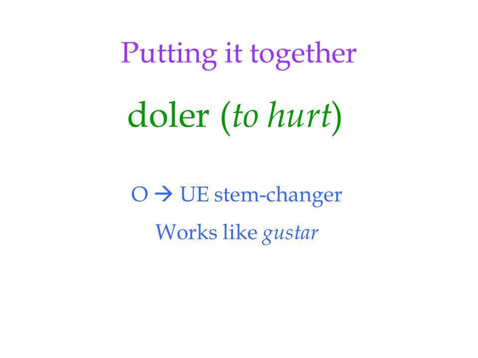 Putting it together doler ( to hurt ) O  UE stem-changer Works like gustar