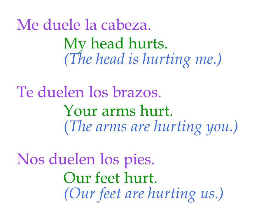 Me duele la cabeza. Te duelen los brazos. Nos duelen los pies.