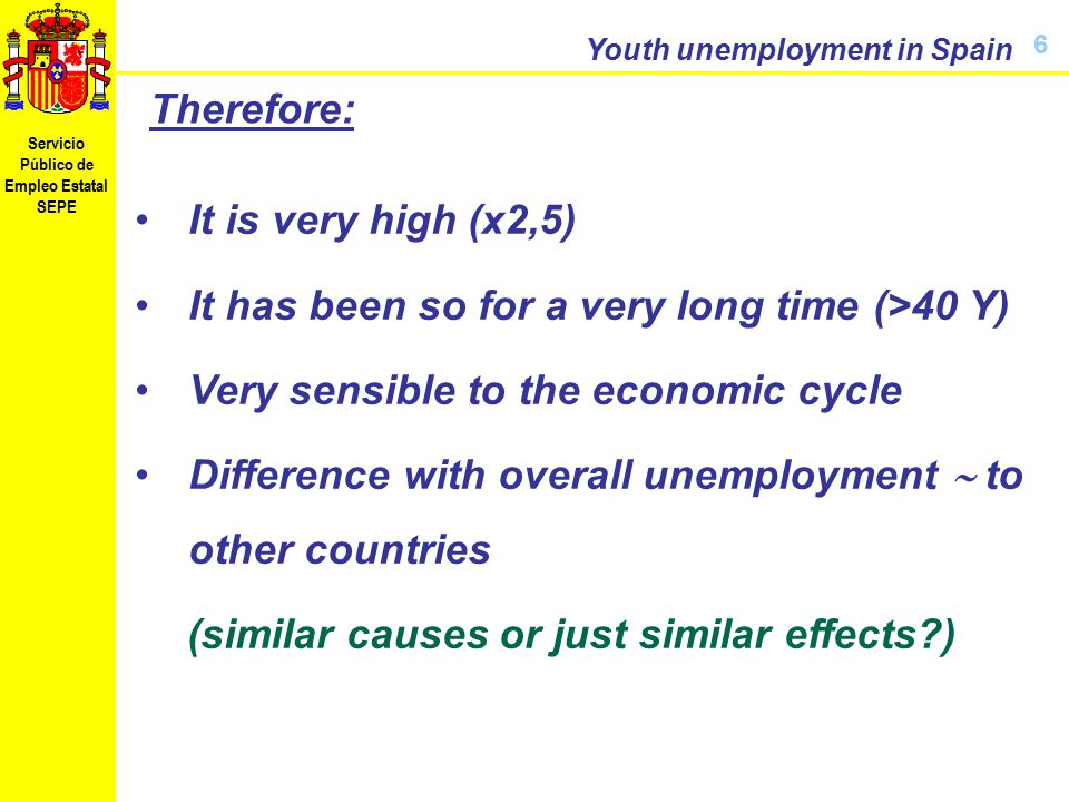 Servicio Público de Empleo Estatal SEPE Youth unemployment in Spain 6 Therefore: It is very high (x2,5) It has been so for a very long time (>40 Y) Very sensible to the economic cycle Difference with overall unemployment  to other countries (similar causes or just similar effects )