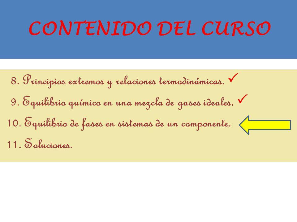 CONTENIDO DEL CURSO 8. Principios extremos y relaciones termodinámicas.