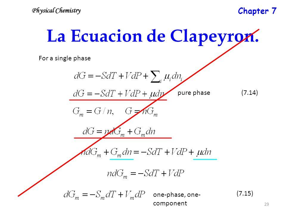 29 La Ecuacion de Clapeyron.