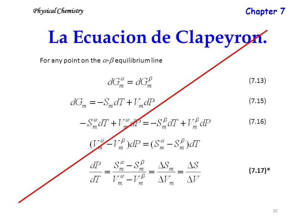 30 La Ecuacion de Clapeyron. For any point on the  -  equilibrium line (7.15) (7.13) (7.16) (7.17)* Physical Chemistry Chapter 7