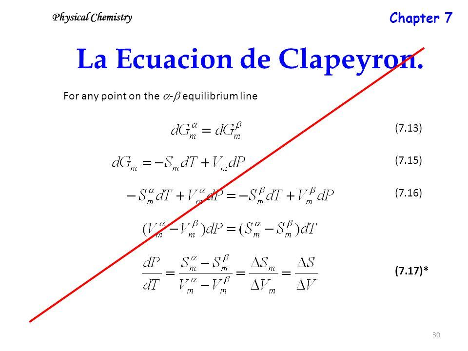 30 La Ecuacion de Clapeyron.