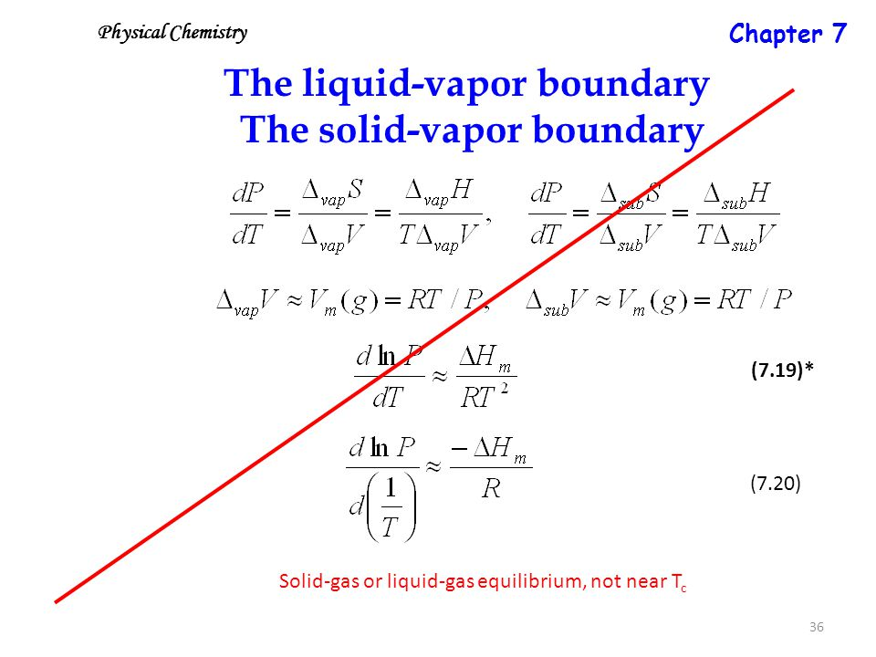 36 The liquid-vapor boundary The solid-vapor boundary Solid-gas or liquid-gas equilibrium, not near T c (7.19)* (7.20) Physical Chemistry Chapter 7