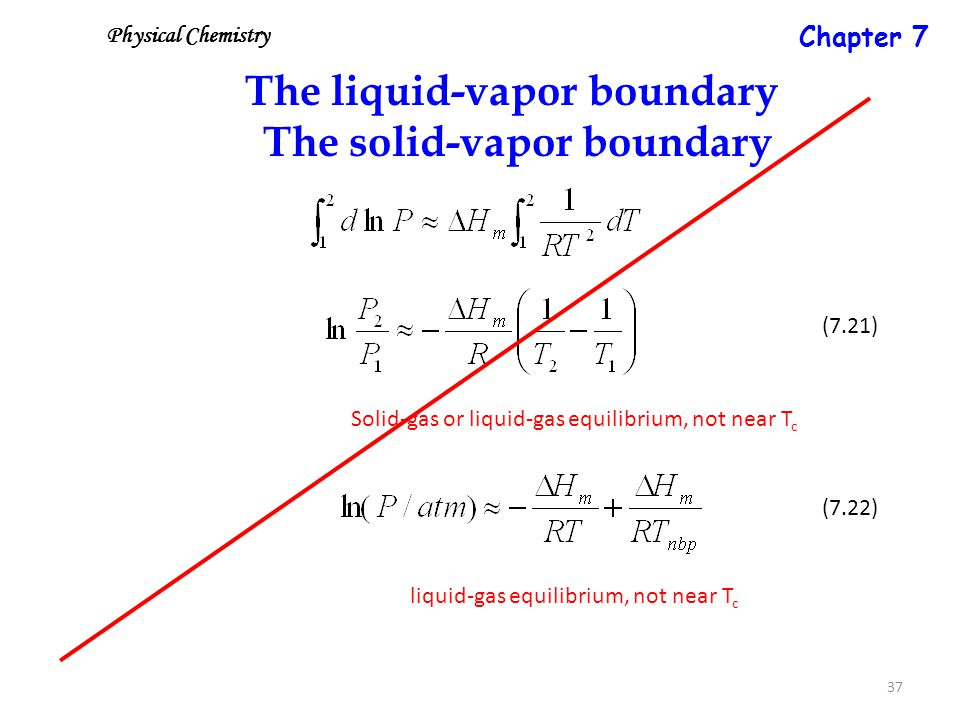 37 The liquid-vapor boundary The solid-vapor boundary Solid-gas or liquid-gas equilibrium, not near T c (7.21) (7.22) liquid-gas equilibrium, not near T c Physical Chemistry Chapter 7