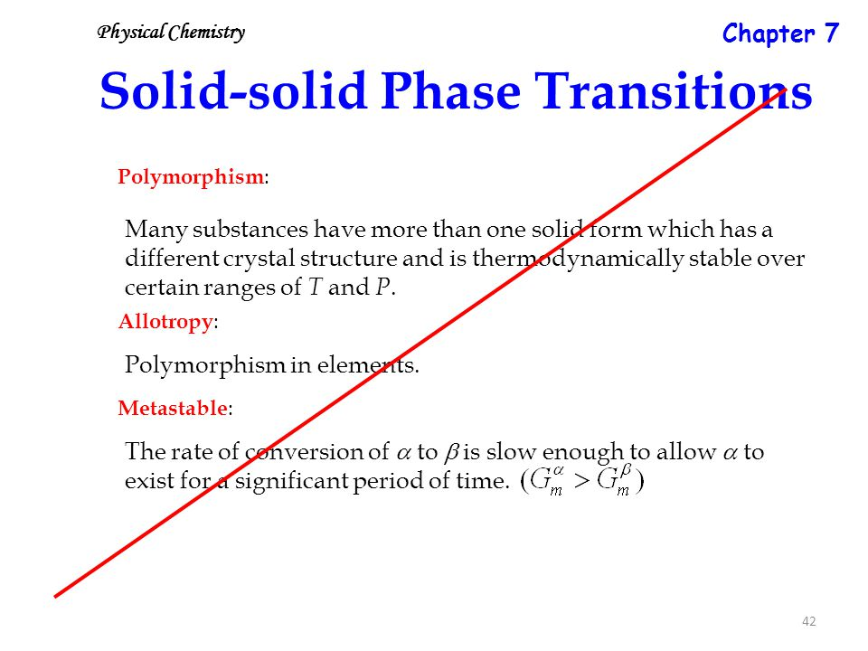 42 Solid-solid Phase Transitions Polymorphism : Many substances have more than one solid form which has a different crystal structure and is thermodynamically stable over certain ranges of T and P.