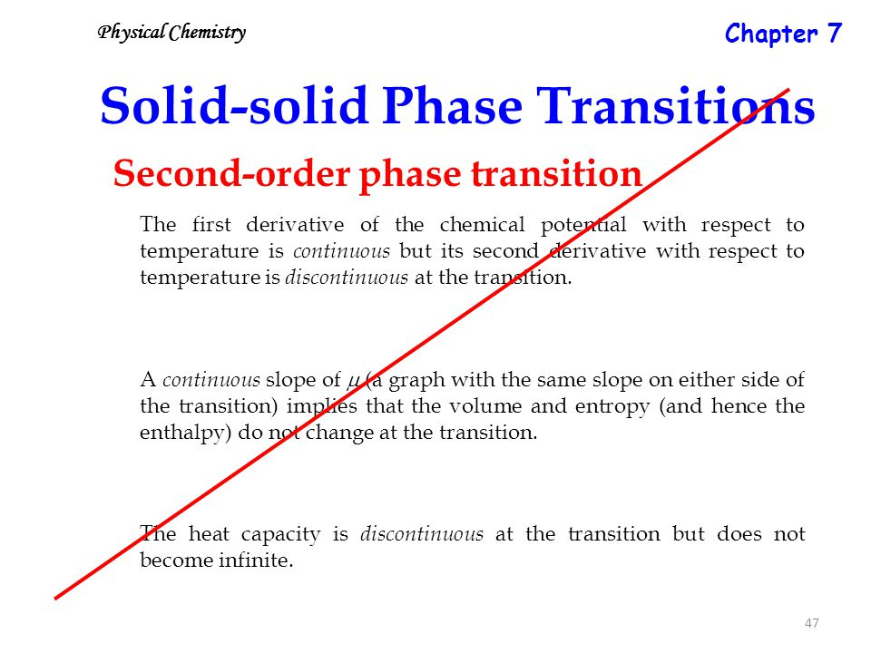 47 Solid-solid Phase Transitions The first derivative of the chemical potential with respect to temperature is continuous but its second derivative with respect to temperature is discontinuous at the transition.
