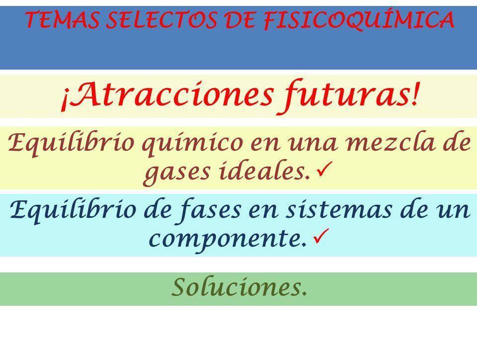 ¡Atracciones futuras. Equilibrio químico en una mezcla de gases ideales.