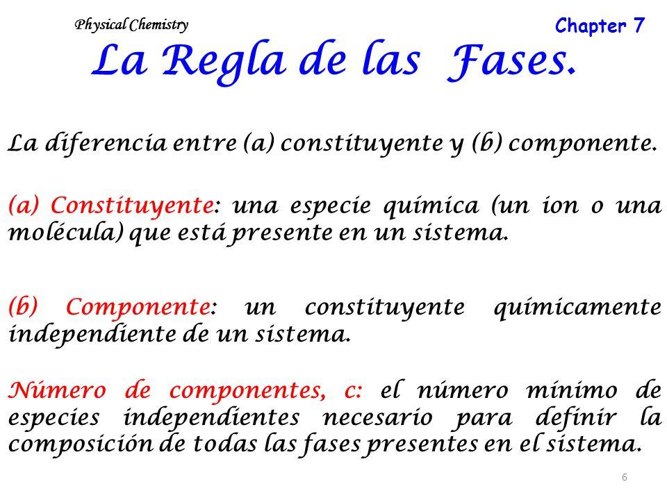 6 La Regla de las Fases. La diferencia entre (a) constituyente y (b) componente. (a) Constituyente: una especie química (un ion o una molécula) que es