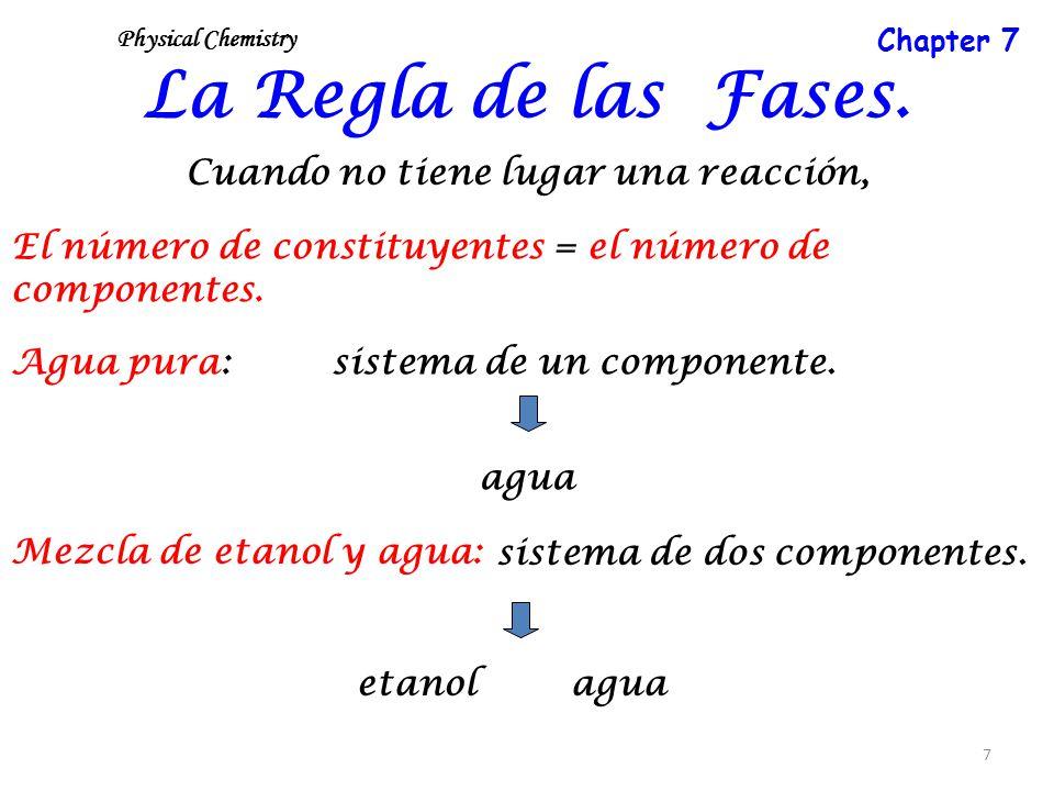 7 La Regla de las Fases. Cuando no tiene lugar una reacción, El número de constituyentes = el número de componentes. Agua pura:sistema de un component