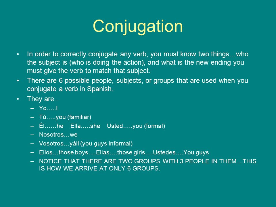Conjugation In order to correctly conjugate any verb, you must know two things…who the subject is (who is doing the action), and what is the new ending you must give the verb to match that subject.