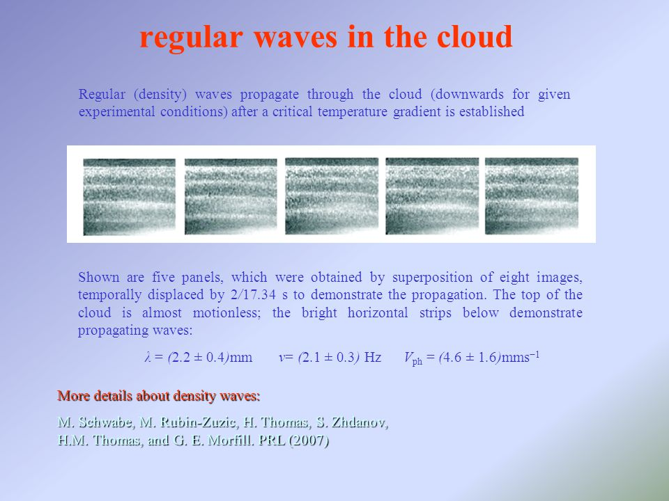 regular waves in the cloud More details about density waves: M.