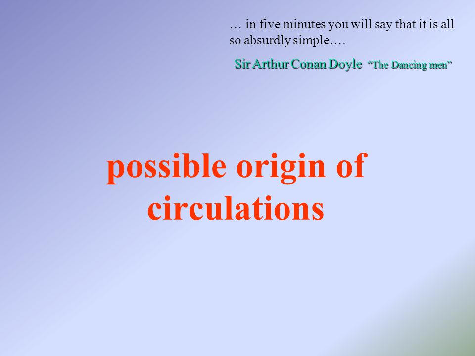 possible origin of circulations … in five minutes you will say that it is all so absurdly simple….