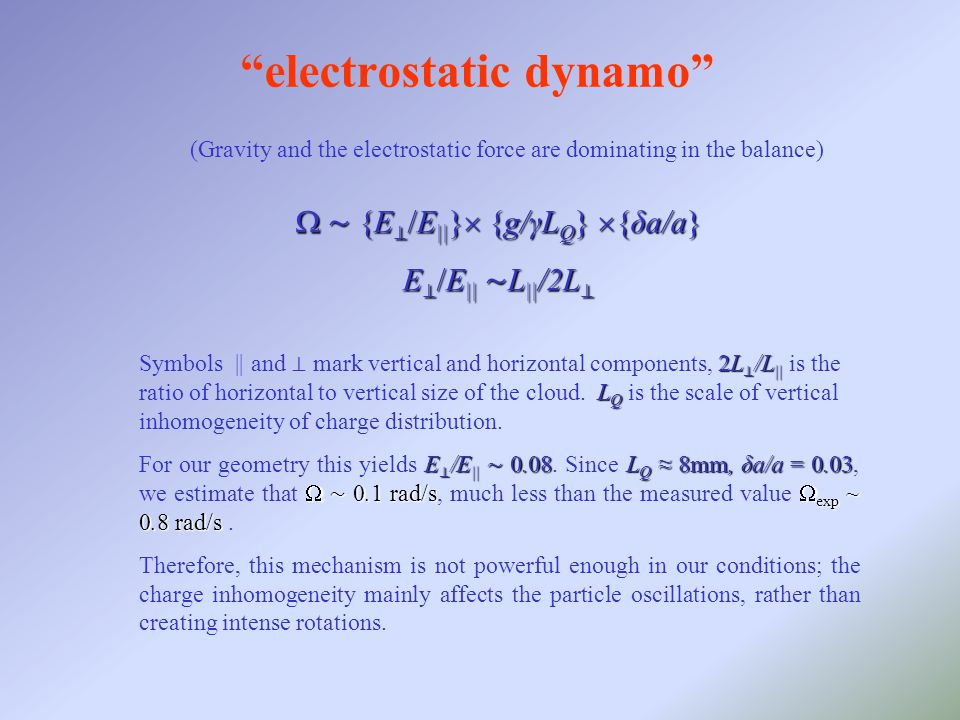  ∼ {E ⊥ /E || }  {g/γL Q }  {δa/a} E ⊥ /E || ∼ L || /2L ⊥ electrostatic dynamo (Gravity and the electrostatic force are dominating in the balance) 2L ⊥ /L || L Q Symbols || and ⊥ mark vertical and horizontal components, 2L ⊥ /L || is the ratio of horizontal to vertical size of the cloud.