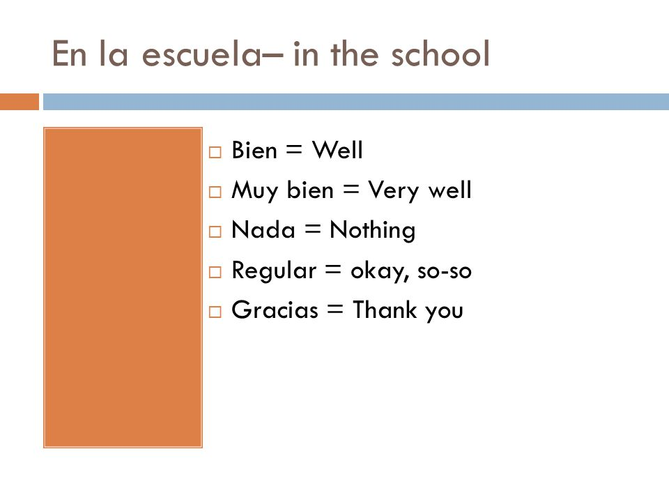 En la escuela– in the school  Bien = Well  Muy bien = Very well  Nada = Nothing  Regular = okay, so-so  Gracias = Thank you