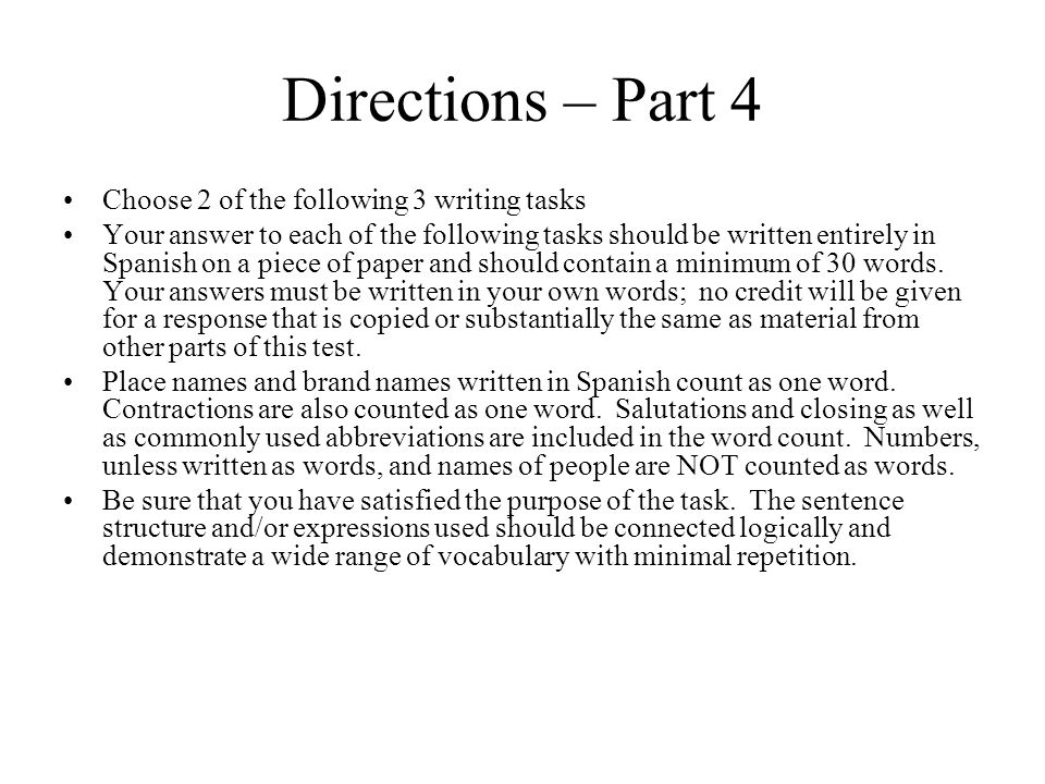 Part 4 Writing Section