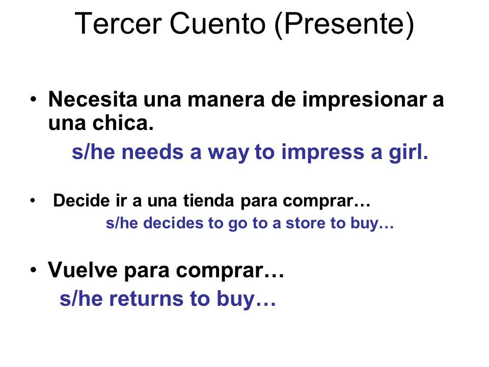 Tercer Cuento (Presente) Necesita una manera de impresionar a una chica.