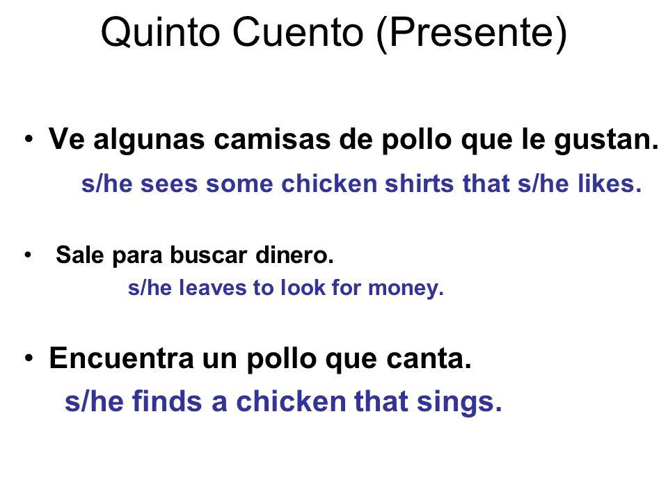Quinto Cuento (Presente) Ve algunas camisas de pollo que le gustan.