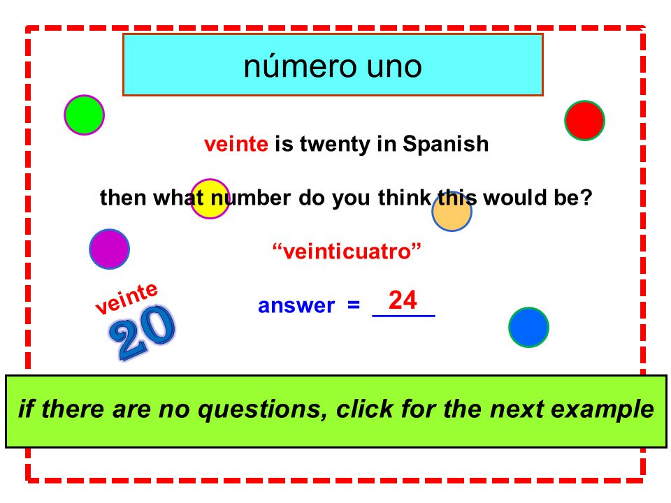 click for the answer veinte is twenty in Spanish then what number do you think this would be.