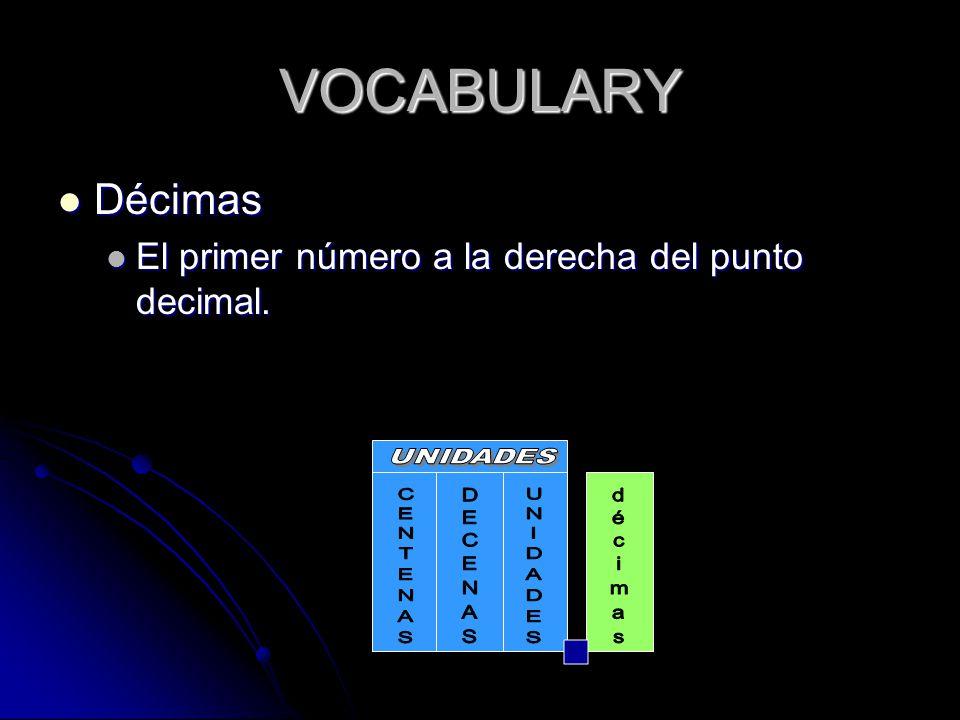 VOCABULARY Décimas Décimas El primer número a la derecha del punto decimal.