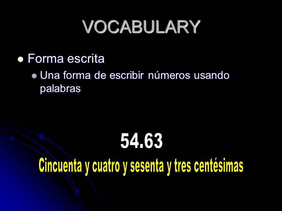 VOCABULARY Forma escrita Forma escrita Una forma de escribir números usando palabras Una forma de escribir números usando palabras